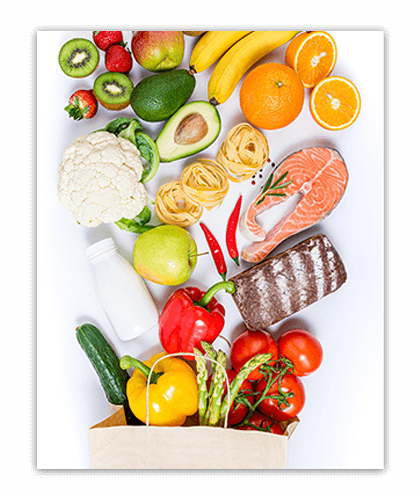Good nutrition is balanced with fruits, vegetables, grains and sources of lean protein.