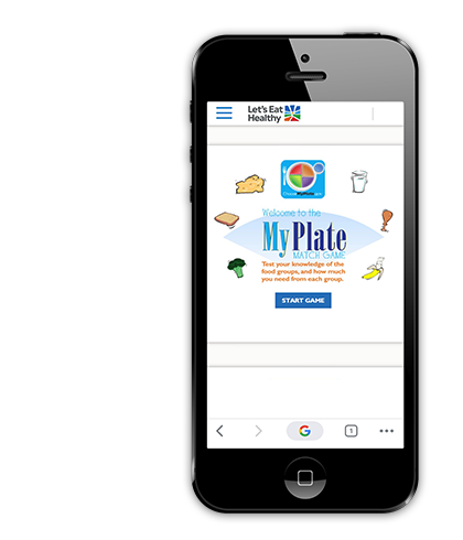 Interactive games on mobile devices teach children about healthy eating.