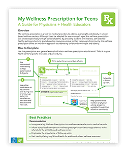 This provides a guide for physicians + health educators.