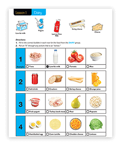 Our 1st grade curriculum teaches kids what healthy eating looks like.