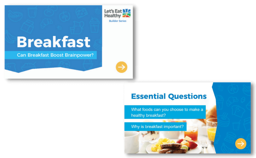 Explore breakfast builder slides for online learning.