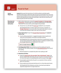 Explore lesson two of the Let's Eat Healthy Teens educator guide.