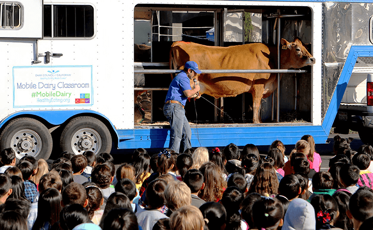 The Mobile Dairy Classroom assembly is free for California elementary schools.